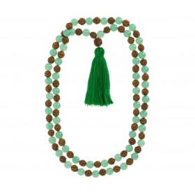 Japamala de Quartzo Verde com Rudraksha