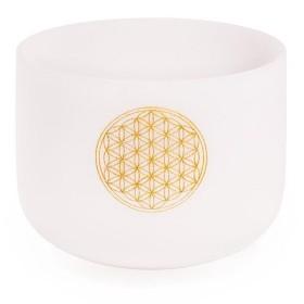 Taça Sonora de Cristal Quartzo - 20 cm - afinada com a nota Fá - Flor da Vida