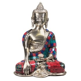Estátua de Buda Shakyamuni (Gautama Siddartha) com mosaico colorido - 20 cm