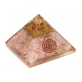 Pirâmide de Orgonite com Quartzo Rosa - Grande