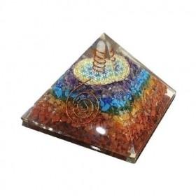 Pirâmide de Orgonite dos 7 Chakras com Flor da Vida