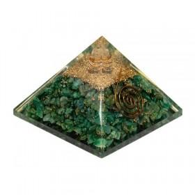 Pirâmide de Orgonite com Quartzo Verde (Aventurina) - Grande
