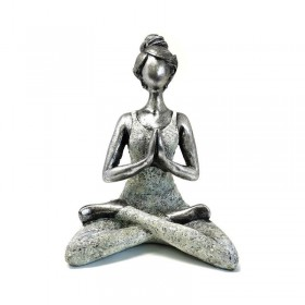 Estátua Yoga Lady - Prateada e Branca