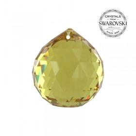 Bola de Cristal Multifacetado Swarovski Amarela - 40 mm