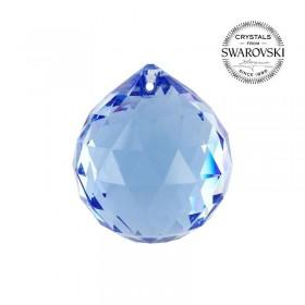 Bola de Cristal Multifacetado Swarovski Azul - 40 mm