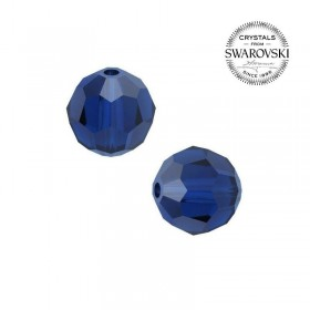 Contas de Cristal Multifacetado Swarovski Azul de 8 mm - 10 contas
