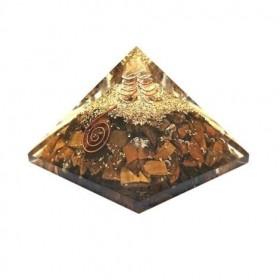 Pirâmide de Orgonite com Olho de Tigre - Grande