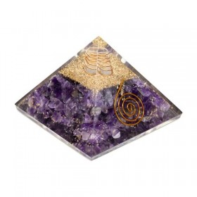 Pirâmide de Orgonite com Ametista