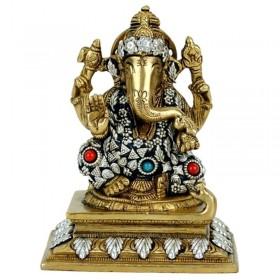 Estátua de Ganesha com detalhes em cores - 14 cm