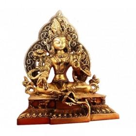Estátua de Tara Verde com Aura Dourada - 22 cm