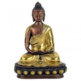 Estátua de Buda Amitabha em bronze e dourado - 20 cm