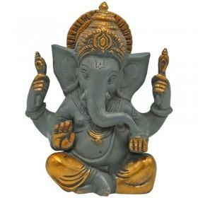 Estátua de Ganesha cinzenta com detalhes em dourado - 14 cm