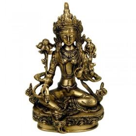 Estátua de Tara Verde Sentada em Lotus - 20 cm