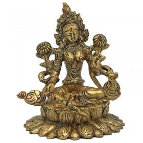 Estátua de Tara Verde Sentada em Lotus - 15.5 cm