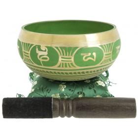 Taça Tibetana Decorada Verde - 14 cm